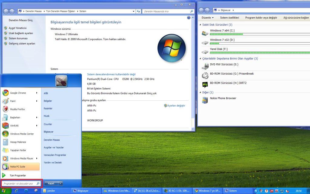 windows 7 arama ekranı resim 1