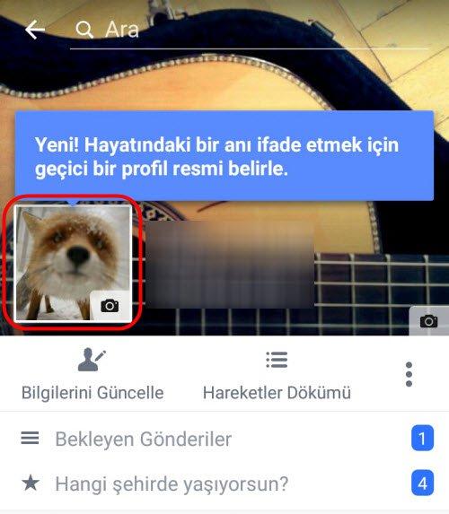 Facebook Geçici Profil Resmi Nasıl Ayarlanır 2